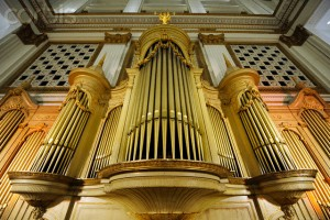 The Wanamaker Grand Court Pipe Organ facade in Macy's Center City Store in Philadelphia